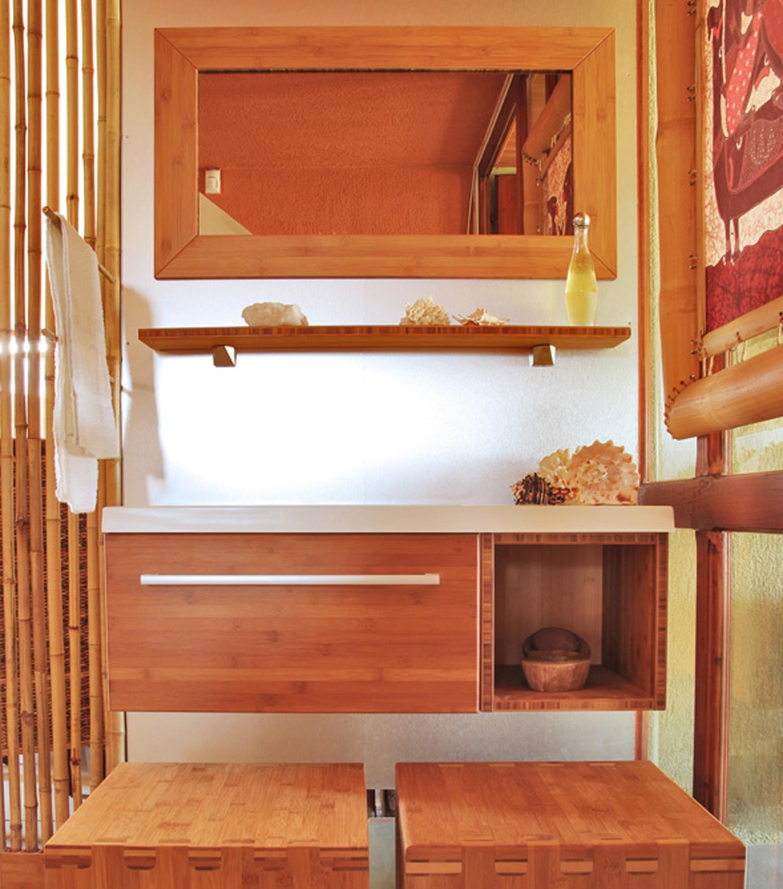 Minimal bambusz fürdőszoba bútor