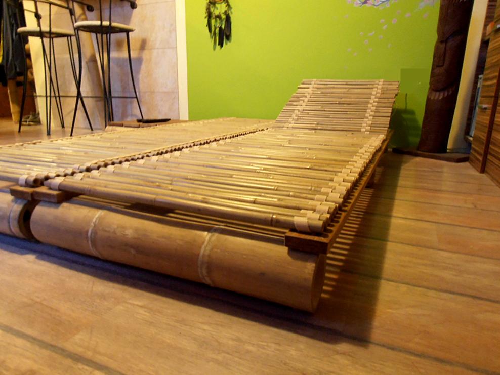 Bambuszrúd nyugágy állítható háttámlával