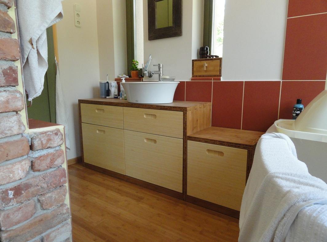 FJORD - bambusz fürdőszoba bútor, natúr / kávébarna