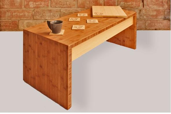 MINI - bambusz dohányzóasztal, kávébarna / natúr