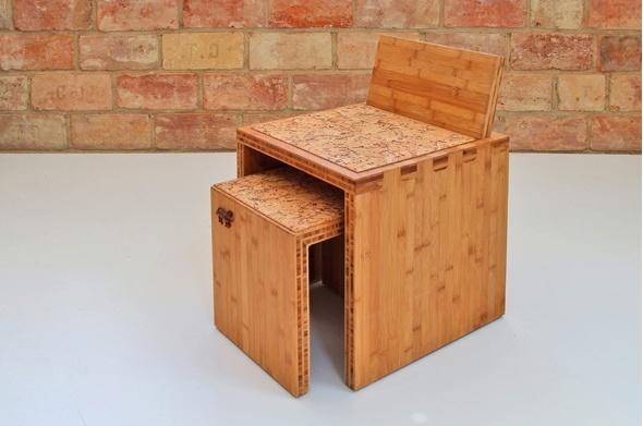 TENON - bambusz ülőke és kisszék, kávébarna