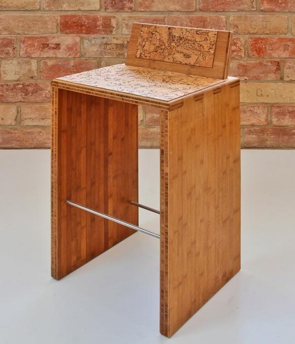 TENON - bambusz bárszék parafa ülőkével, kávébarna