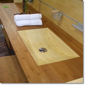 Bambusz mosdótál és pult