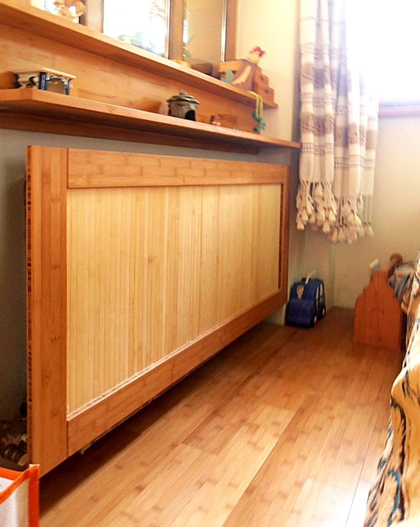 Bambusz radiátor burkolat, kávébarna / natúr